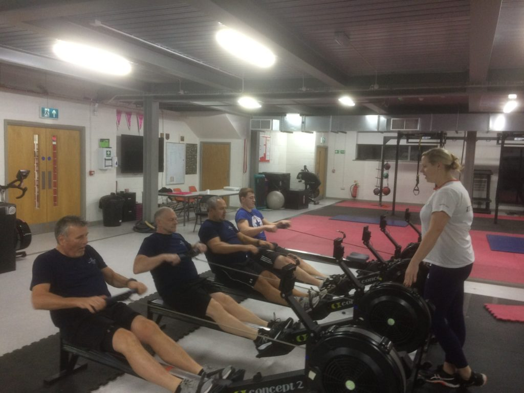 Paralympic Gold Medallist, Naomi Riches M.B.E., putting the Bucks Boys through their paces at Marlow Rowing Club.